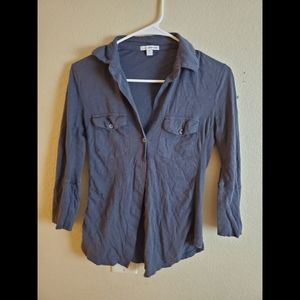 James Perse Gray Long Sleeve Shirt Top